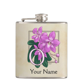 Pink Orchid Personalized Floral Monogram Hip Flask