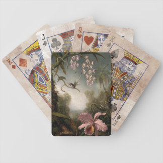 Pink Orchid Vintage Postage Stamps Playing Cards