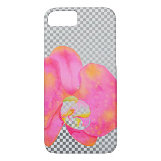 Pink Orchids grey and white checkers iPhone 7 Case