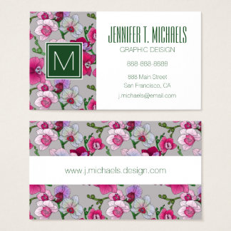 Pink Orchids In Bloom | Add Your Name Business Card