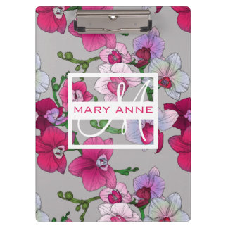 Pink Orchids In Bloom | Add Your Name Clipboards