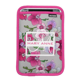 Pink Orchids In Bloom | Add Your Name iPad Mini Sleeve