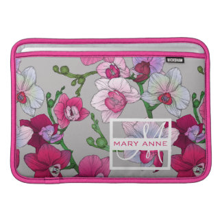 Pink Orchids In Bloom | Add Your Name Sleeves For MacBook Air