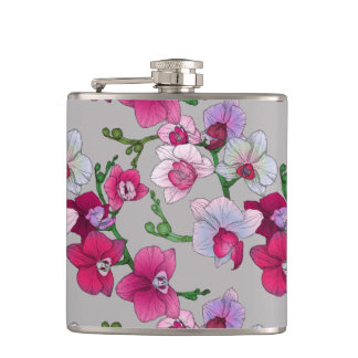 Pink Orchids In Bloom Flask