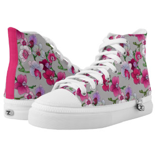Pink Orchids In Bloom Printed Shoes