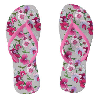 Pink Orchids In Bloom Thongs