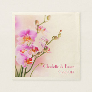 Pink Orchids Personalized Elegant Wedding Disposable Serviette