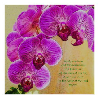 Pink Orchids Psalm 23 Custom Art Poster