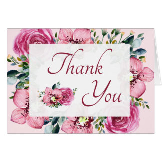Pink Orchids & Roses Thank You Card