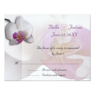 Pink Orchids RSVP 11 Cm X 14 Cm Invitation Card