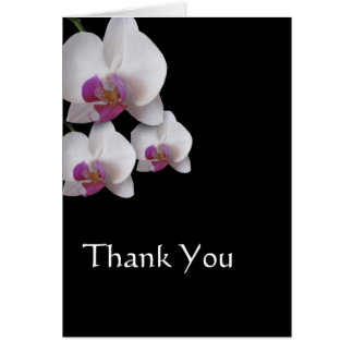 Pink Orchids Thank You Note Note Card