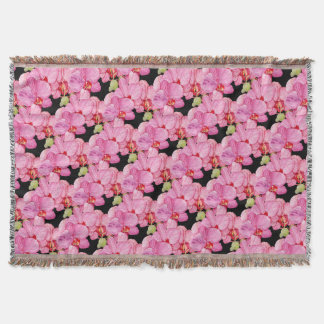 Pink Orchids Throw Blanket