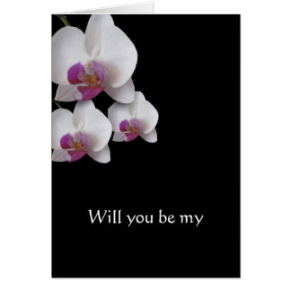 Pink Orchids Will You Be My Note card