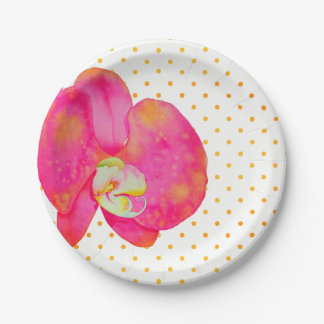 Pink Orchids with polka-dots Paper Plate