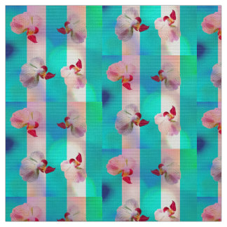 Pink orchids with stripes fabric