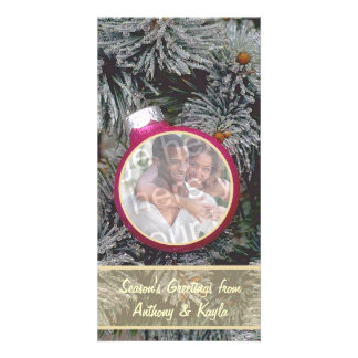Pink Ornament Nesting In Tree Photo Holiday Card Photo Greeting Card