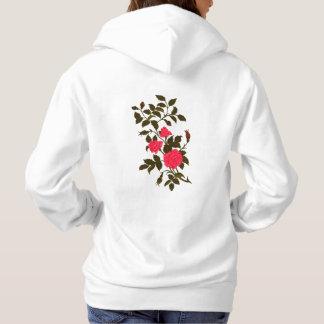 Pink Ornamental Rose, Recolored Vintage Image Hoodie