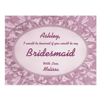 Pink Ornamental - Will You Be My Bridesmaid? Postcard