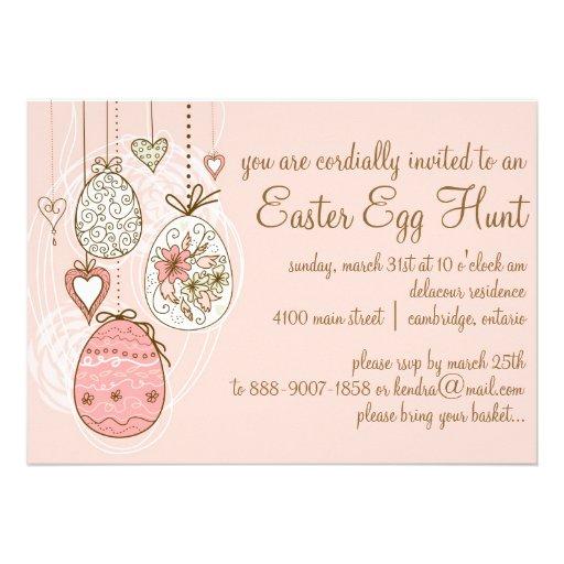Pink Ornate Easter Eggs Easter Egg Hunt Invitation