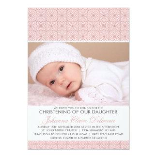 "Pink Ornate Pattern Photo Christening Invitation 5"" X 7"" Invitation Card"