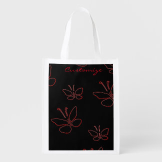 pink outline butterflies black Thunder_Cove Reusable Grocery Bag