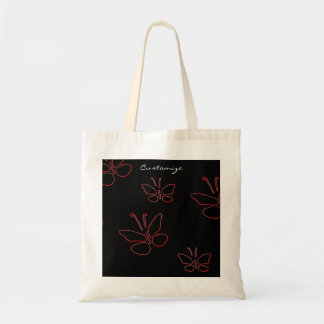 pink outline butterflies black Thunder_Cove Tote Bag