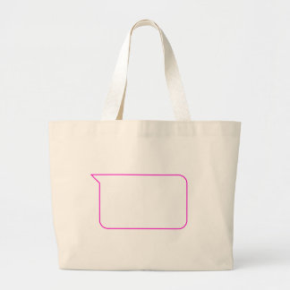 Pink Outline Chat Custom Message Bubble Large Tote Bag