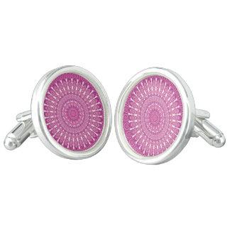 Pink oval mandala cufflinks