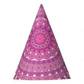 Pink oval mandala party hat