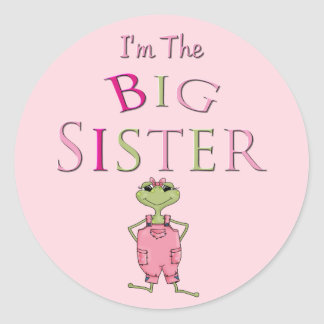 Pink Overall Frog Big Sister Classic Round Sticker