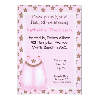 Pink Overalls  Baby Shower Invitation