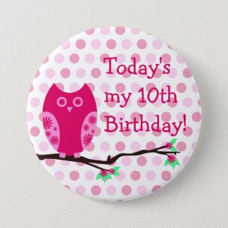 Pink Owl 10th Birthday Button