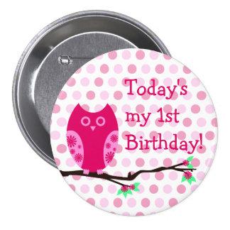 Pink Owl 1st Birthday Button