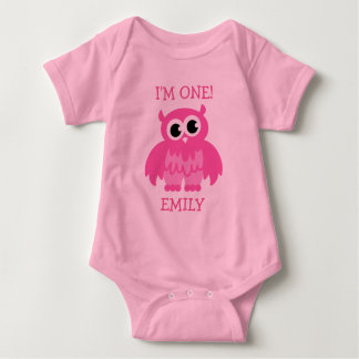 Pink owl 1st Birthday jumpsuit for baby girl