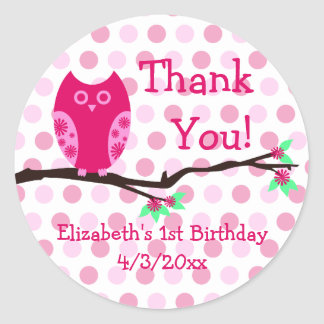 Pink Owl 1st Birthday Personalized Favor Tags Round Sticker