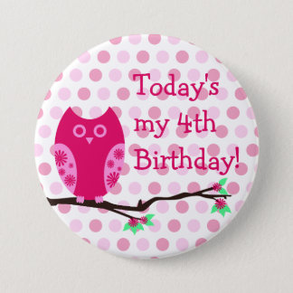 Pink Owl 4th Birthday Button