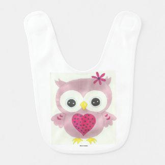 Pink Owl Baby Bib