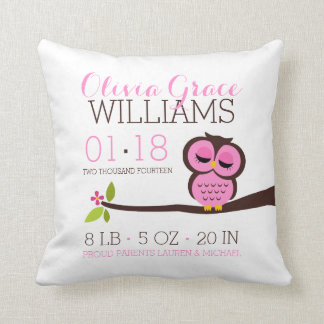 Pink Owl Baby Birth Announcement Cushion