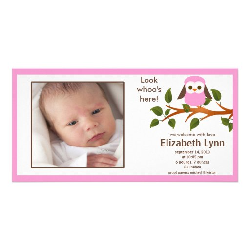 Pink Owl Baby Girl Birth Annoucement Photo Card Template