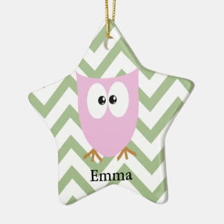 Pink Owl Baby Girl Ceramic Star Decoration