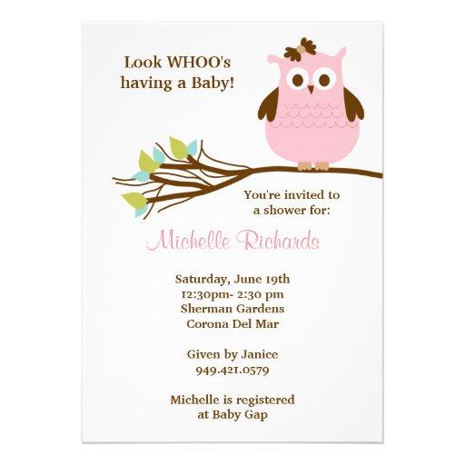 Pink Owl Baby Shower Invitation