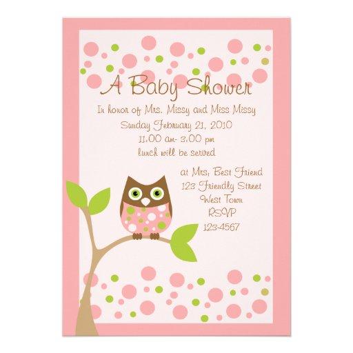 pink owl baby shower invitation 13 cm x 18 cm invitation card zazzle
