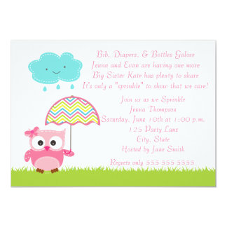 Pink Owl Baby Sprinkle Invitation