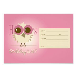 "Pink Owl Birthday Card Invitation Retro Girl 5"" X 7"" Invitation Card"