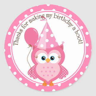 Pink Owl Birthday Thank You Round Sticker