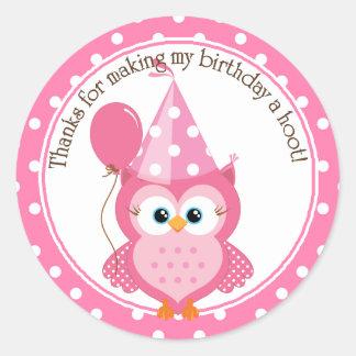 Pink Owl Birthday Thank You Round Sticker