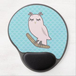 Pink Owl, Blue Heart Pattern Background Gel Mousepad