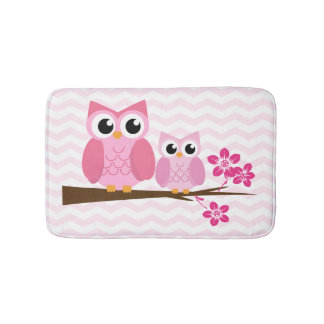 Pink Owl Chevron Bath Mat