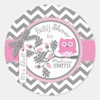 Pink Owl Chevron Print Baby Shower Classic Round Sticker