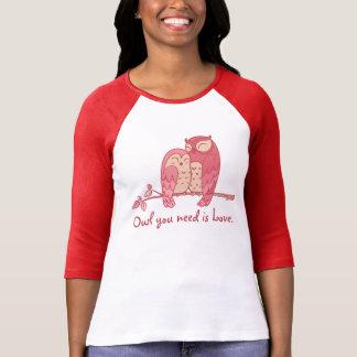 Pink Owl Couple with Pun T-Shirt